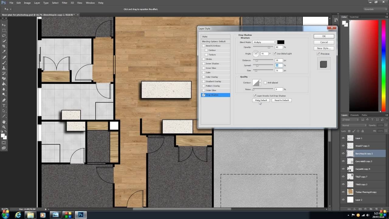 How to create a 2d colour floor plan or rendered floor for Floor plan design in photoshop