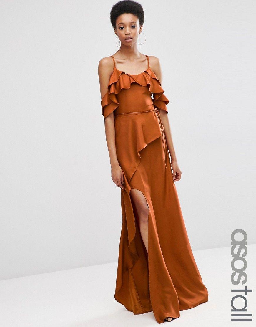 ASOS TALL Cold Shoulder Ruffle Cami Maxi Dress | Backyard Wedding ...