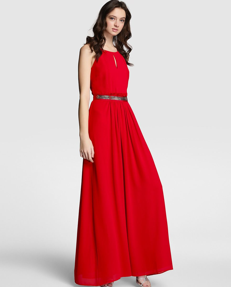2605505a9 Vestido largo de mujer Tintoretto rojo con strass