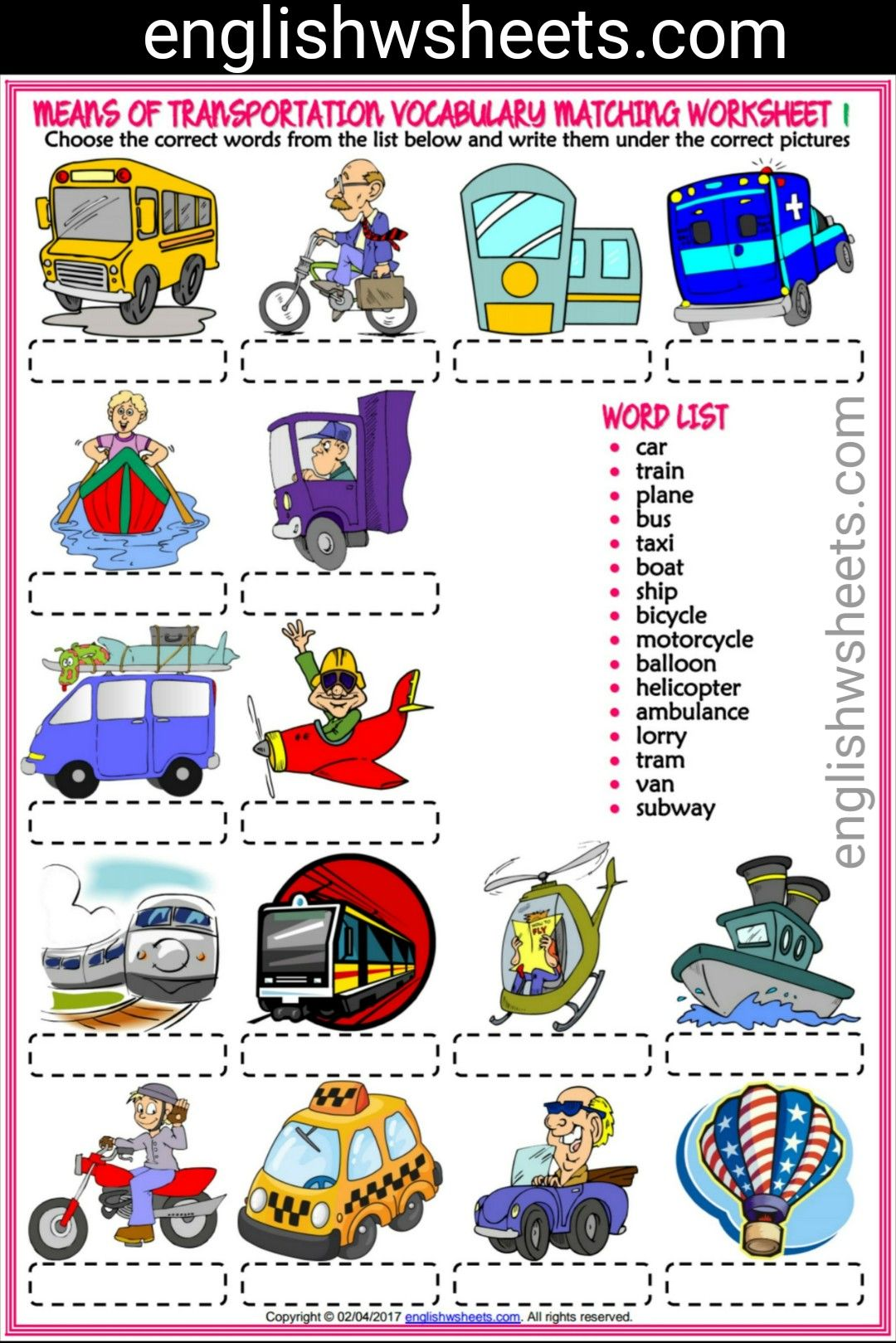 Means Of Transportation Esl Printable Vocabulary Matching