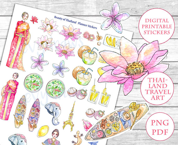 Watercolor Beauty of Thailand Stickers This PRINTABLE sticker sheet - food sign up sheet template