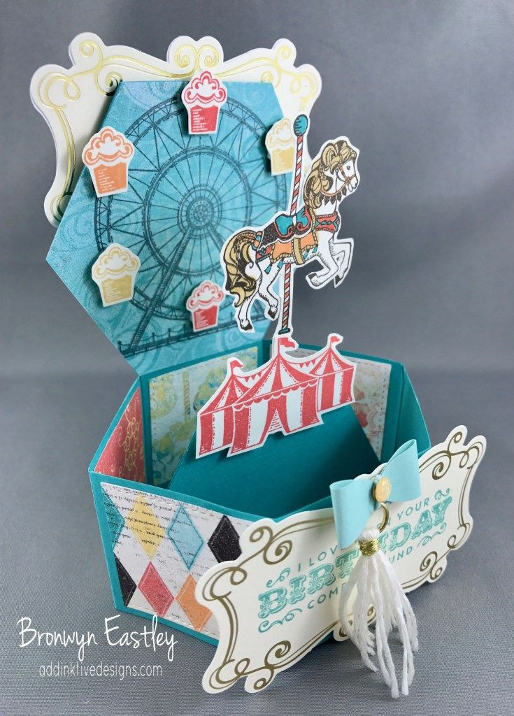 Carousel Birthday, Hexagonal Base Pop-Up Card, Bronwyn Eastley, Independent Stampin' Up! Demonstrator, AUSTRALIA, #addinktivedesignsocca