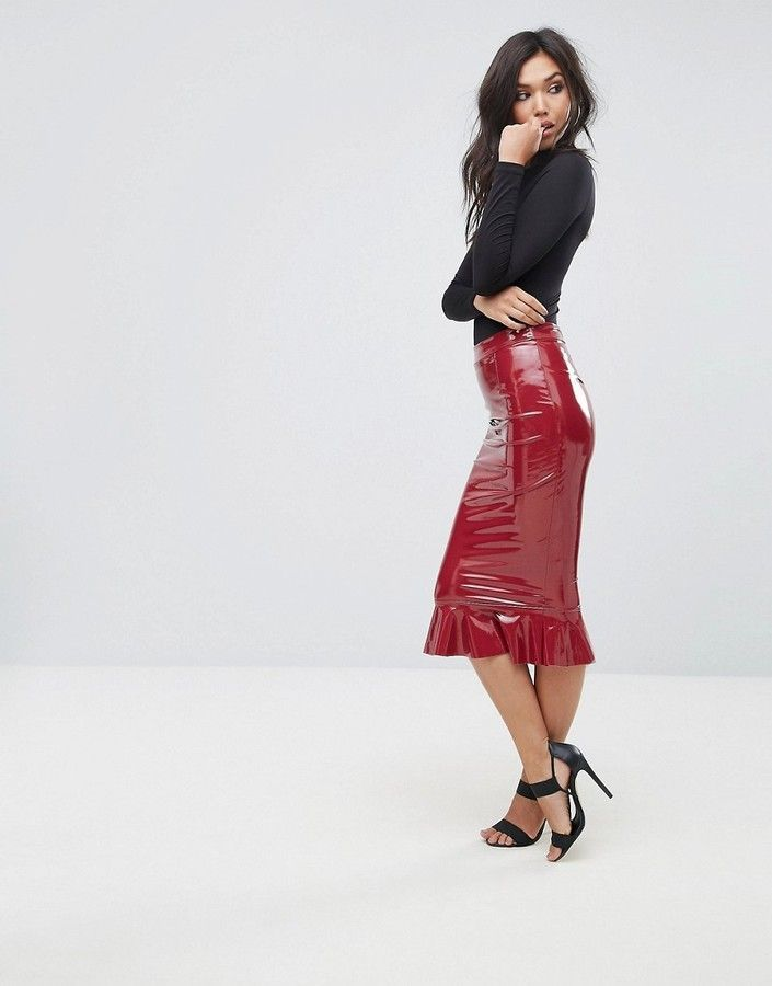 Club L High Shine Bodycon Skirt With Frill Hem