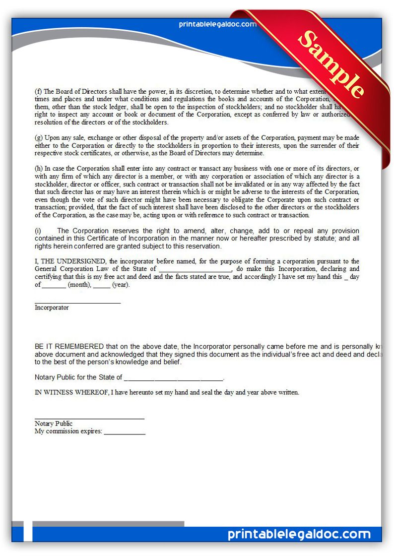 Free Printable Certificate Of Incorporation Sample Printable Legal