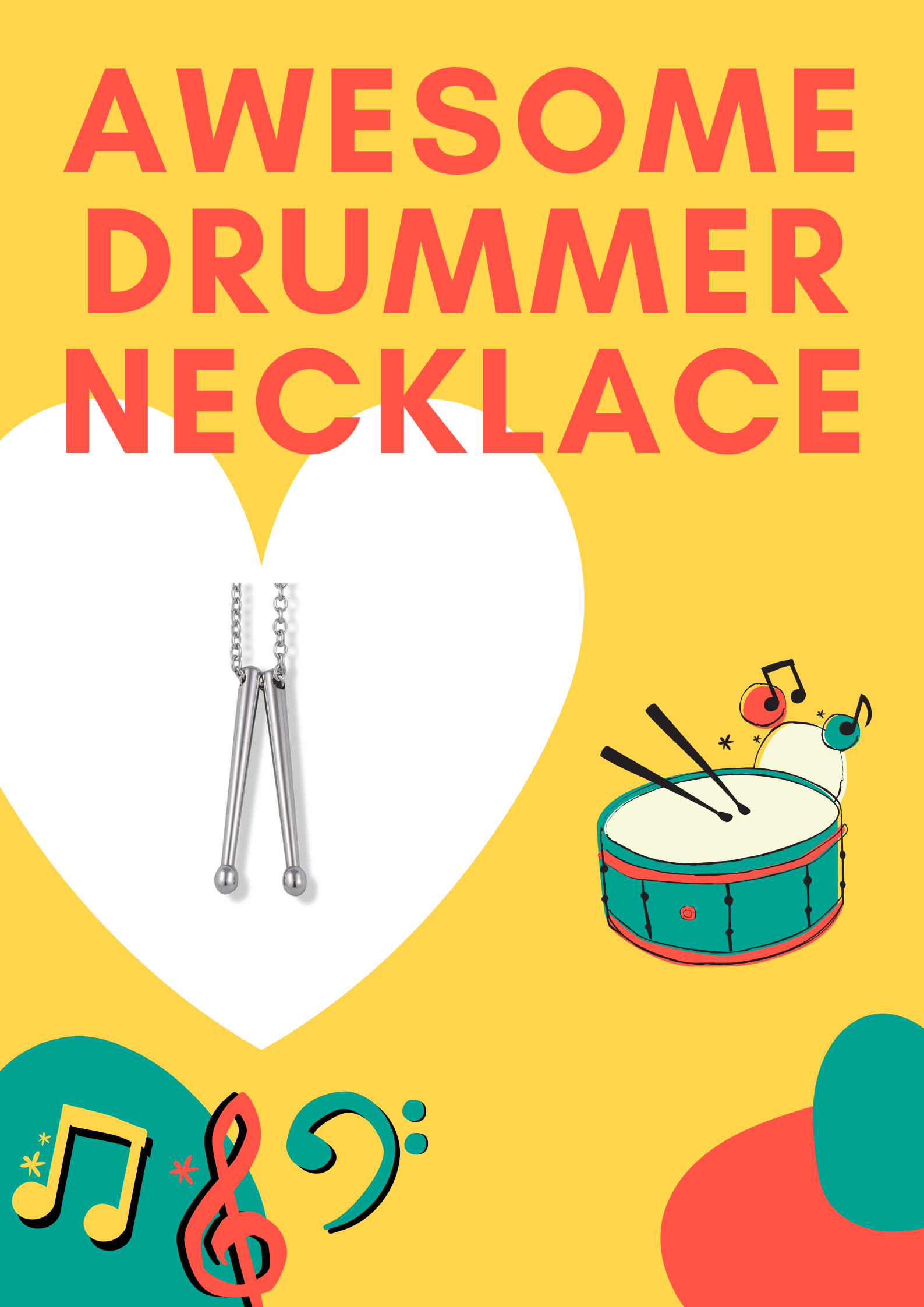 Drumstick Necklace for Men | [Free Shipping] Drummer Gifts Women Stainless Steel Pendant Necklace Charm Jewelry