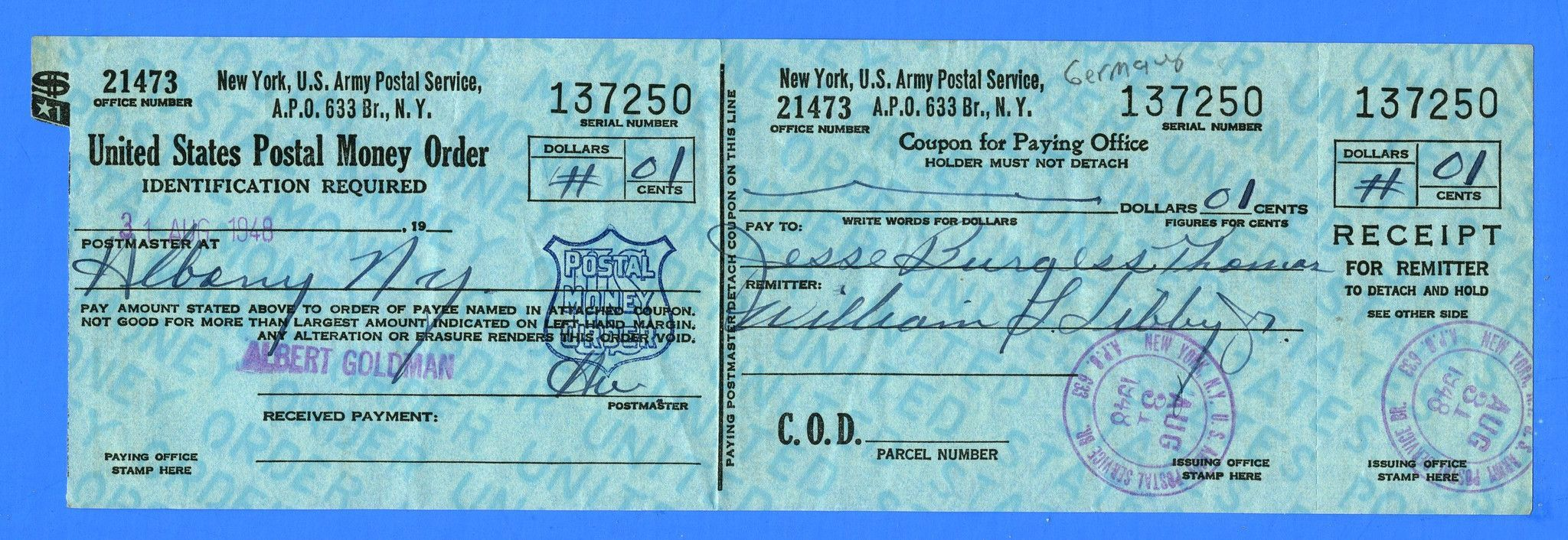 Soldier S Mail Apo 633 Postal Money Order Receipt Wiesbaden Germany August 31 1948 Wiesbaden Money Order Germany