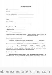 Free Promissory Note Printable Real Estate Forms  Printable Real