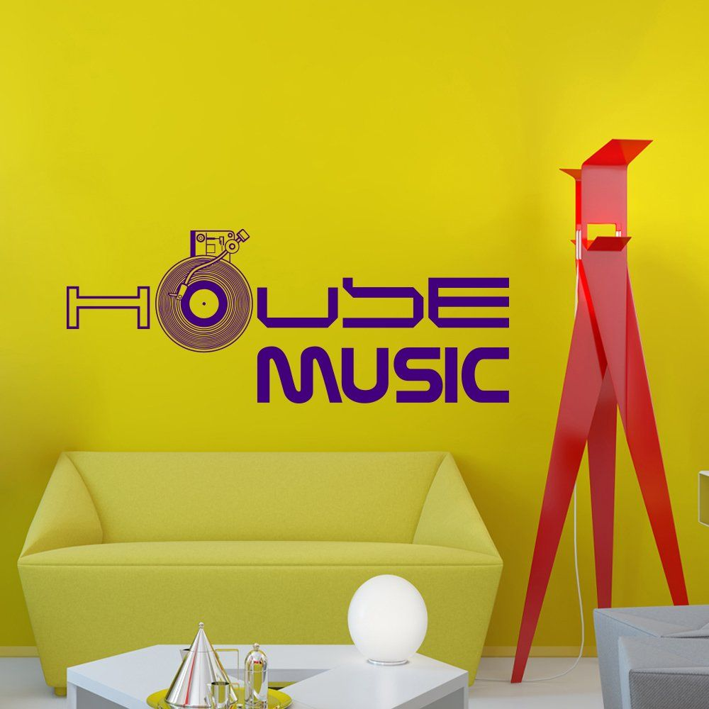 Wall Decals Sign House Music Vinil Record Electro Live Band Music ...