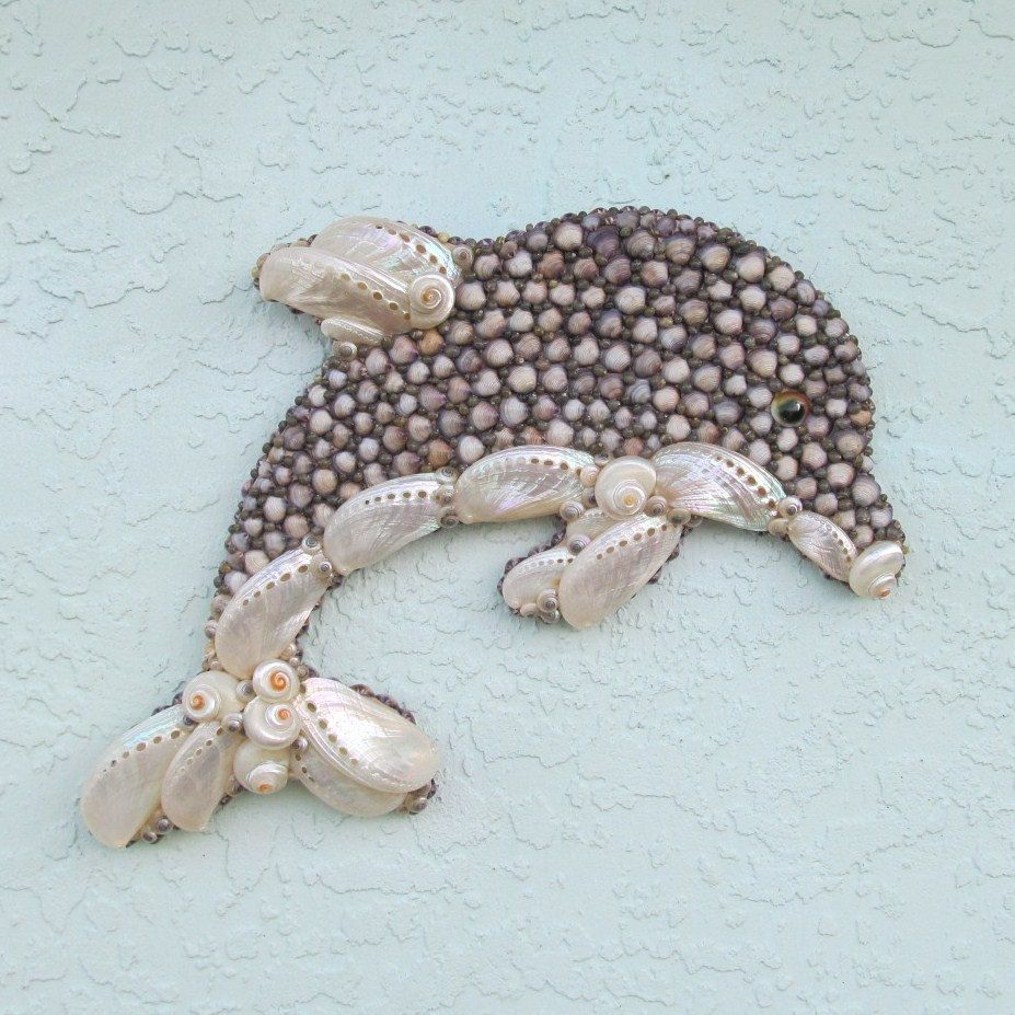 dolphin wall art seashell wall hanging via etsy. Black Bedroom Furniture Sets. Home Design Ideas