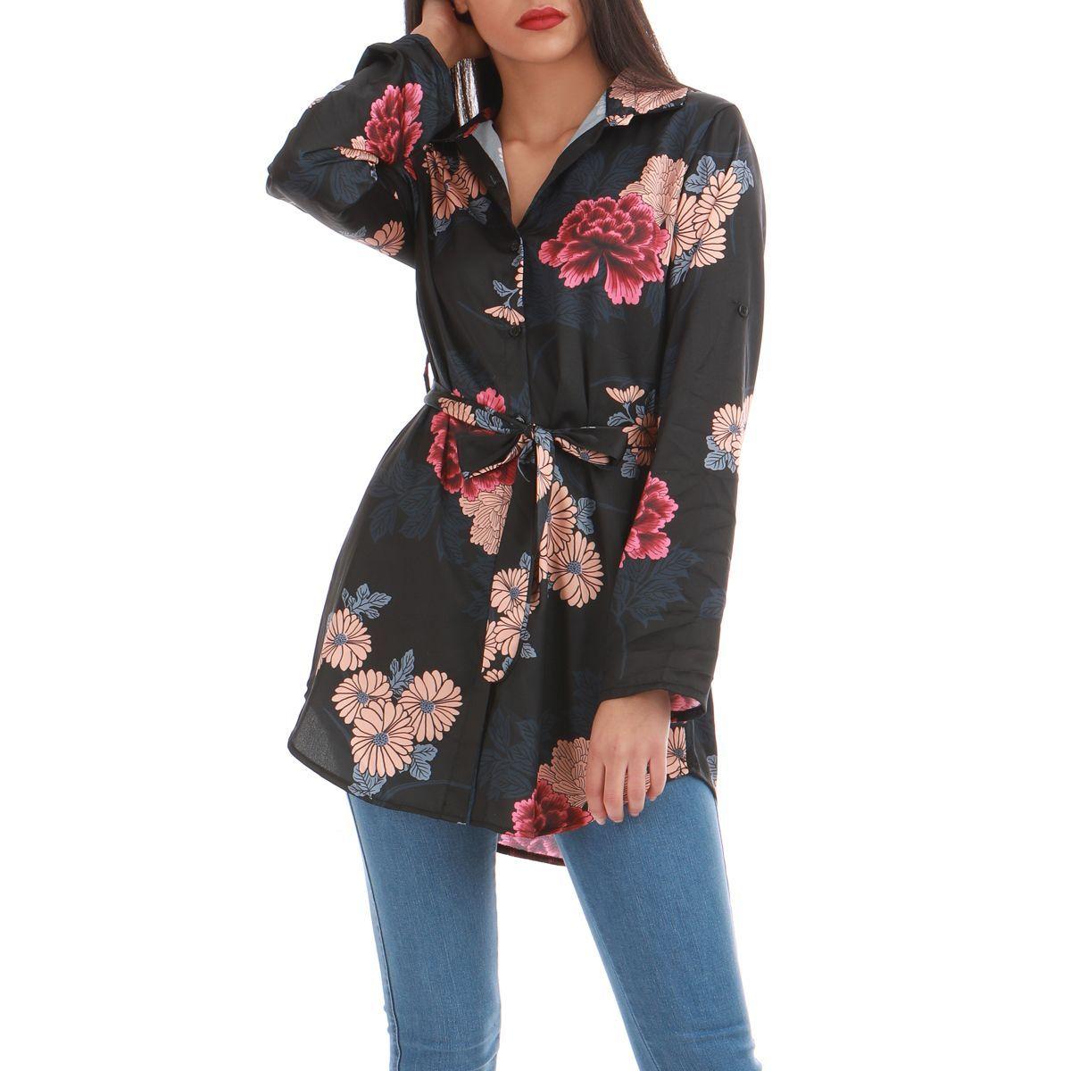 000682dc3eb Chemise longue noire à détails fleuris et ceinture femme pas cher la modeuse