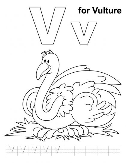 V is for vulture handwriting practice and coloring page