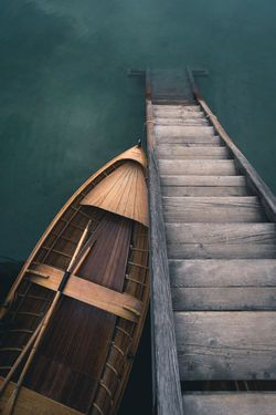 Empty Wooden Paddle Boat Boats Stairs Wood High Angle View Jetty Lago Di Braies Lake Nature