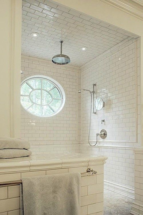 Subway Tile Onto Ceiling As Well