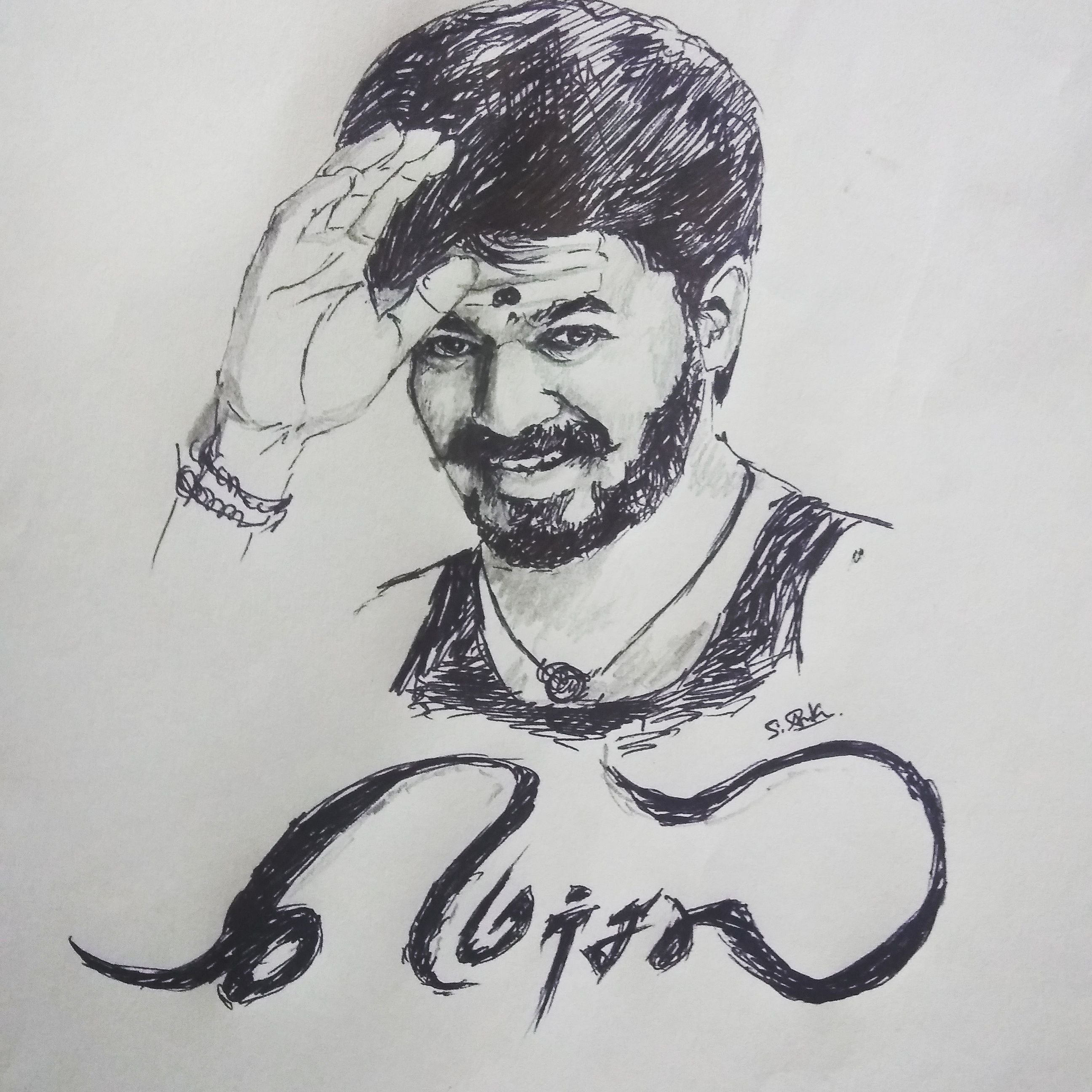 Mersal Fan Art Vijay Mersal Thalapathey Drawing Actor Heroes