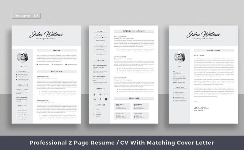 Professional Resume Template Top Selling Resume Cv Big Etsy Resume Template Professional Resume Template Resume Microsoft Word