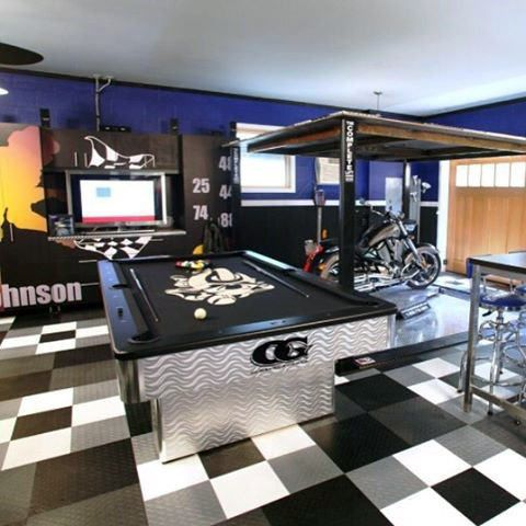 90 Garage Flooring Ideas For Men Paint Tiles And Epoxy Coatings Best Man Caves Man Cave Room Garage Game Rooms