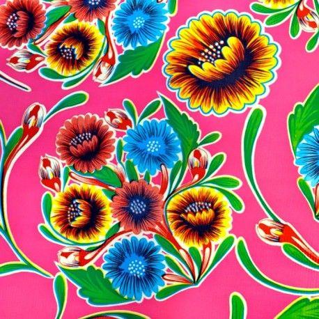 Hule Dulce flor Rosa - Tela de hule mexicano floreado en ...