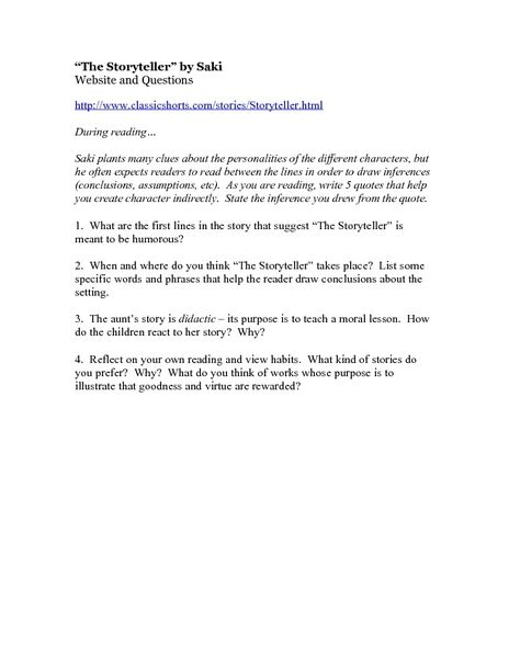 the storyteller by saki website and questions worksheet lesson