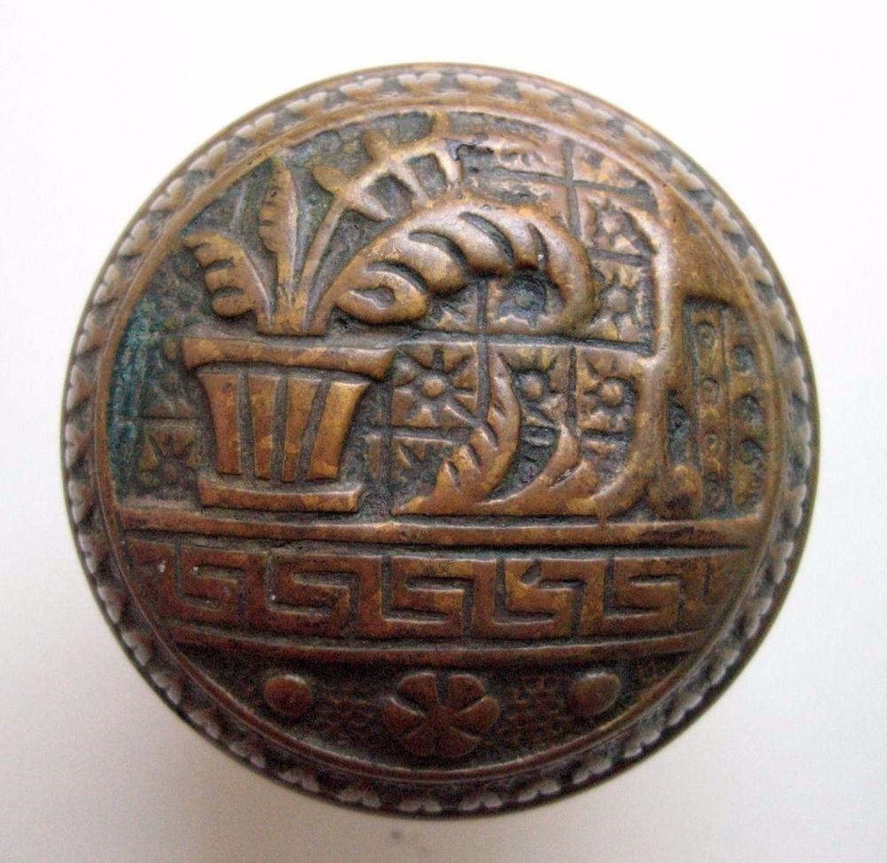 antique victorian eastlake bronze door knob lockwood rare