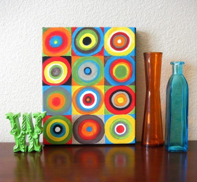 leinwand malen kreise bunt farben vasen glas leinwandbilder selber machen pinterest. Black Bedroom Furniture Sets. Home Design Ideas