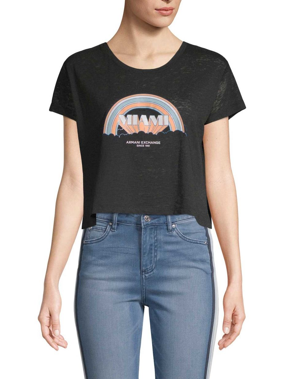 fac15bff4f78 Graphic Cropped Tee by Armani Exchange at Gilt
