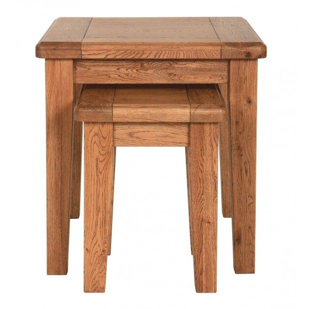 Farmhouse Rustic Oak Nest Of Tables