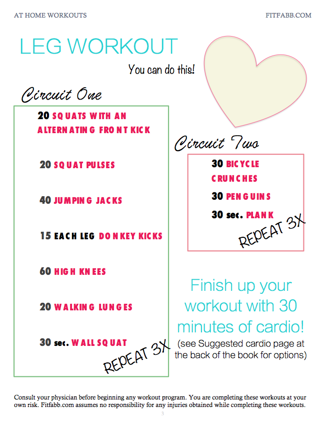 Printable Workout Plans For Beginners At Home