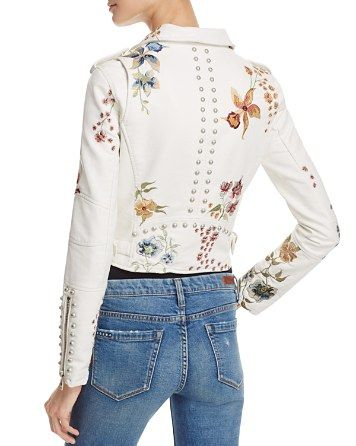 $BLANKNYC Floral Embroidered Studded Faux Leather Moto Jacket -  Bloomingdale's
