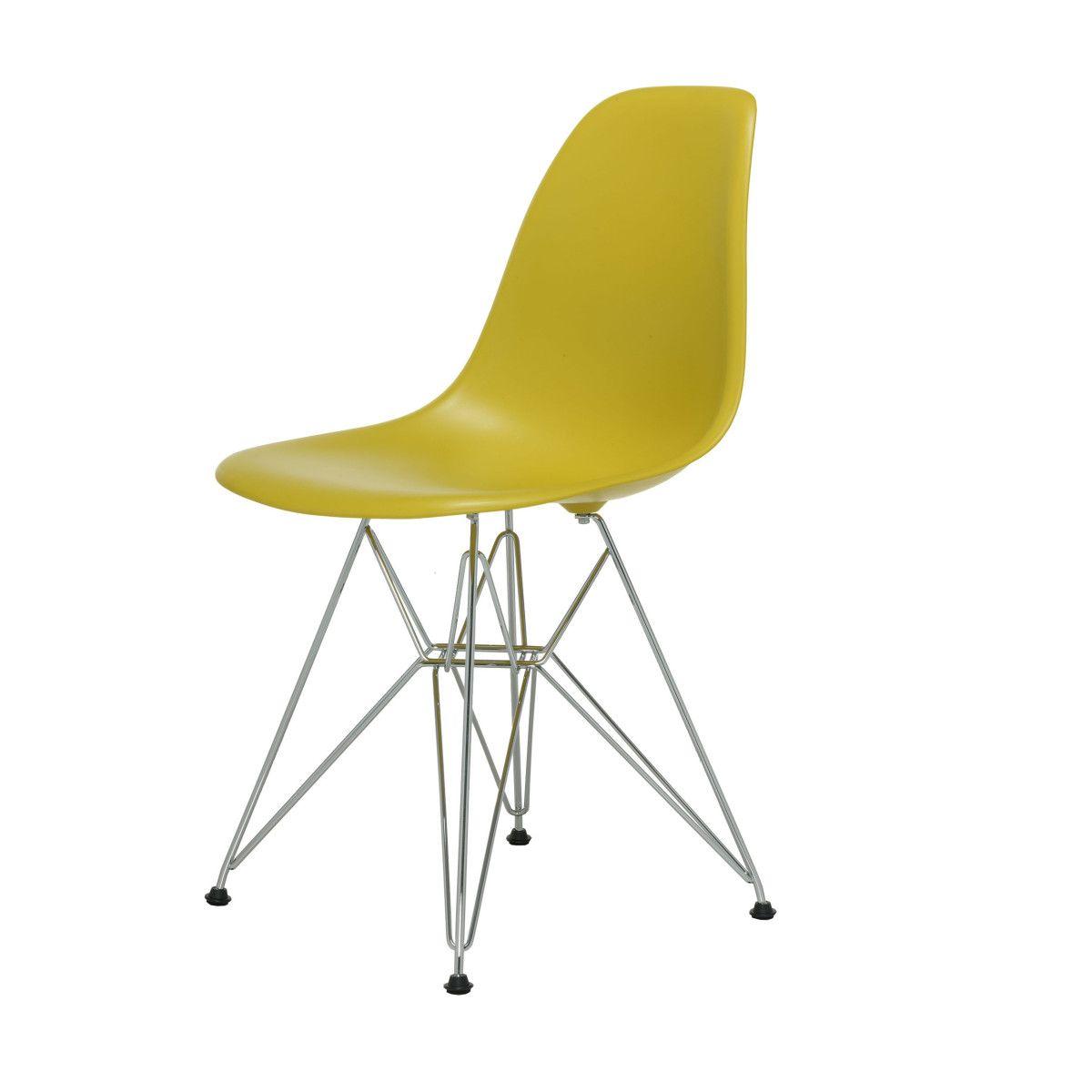 Eames Plastic Side Chair Stuhl DSR mit Filzgleitern senf