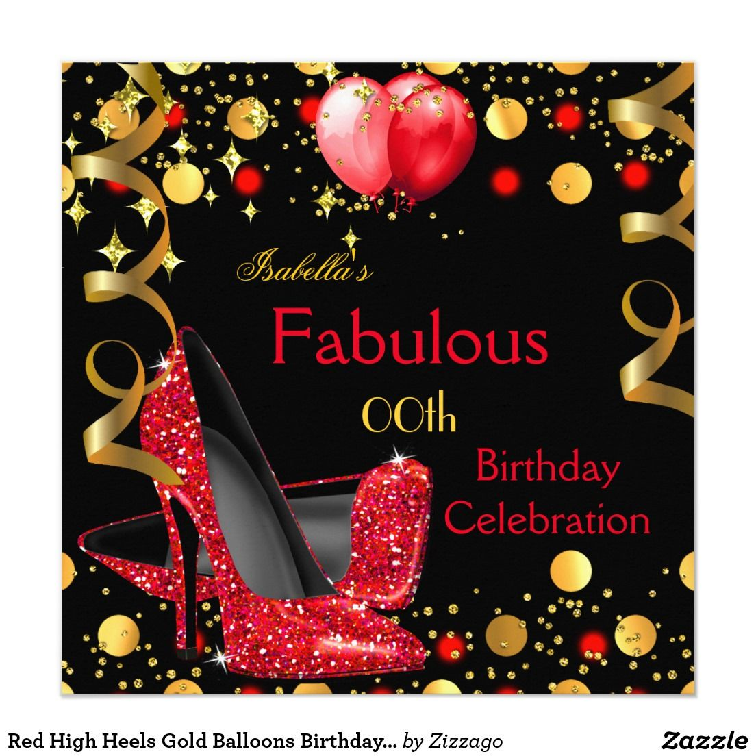 Red High Heels Gold Balloons Birthday Party Card | Gold balloons ...