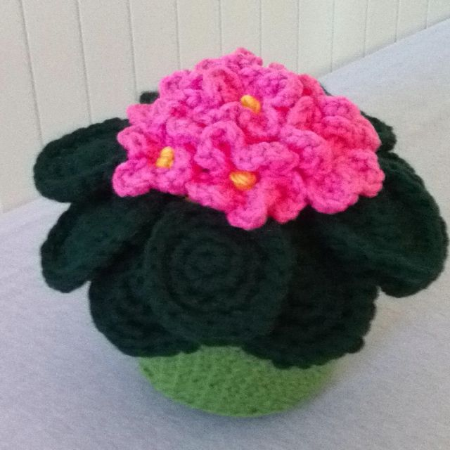Wonderful evergreen pink african violet! Crocheted with much Aloha!