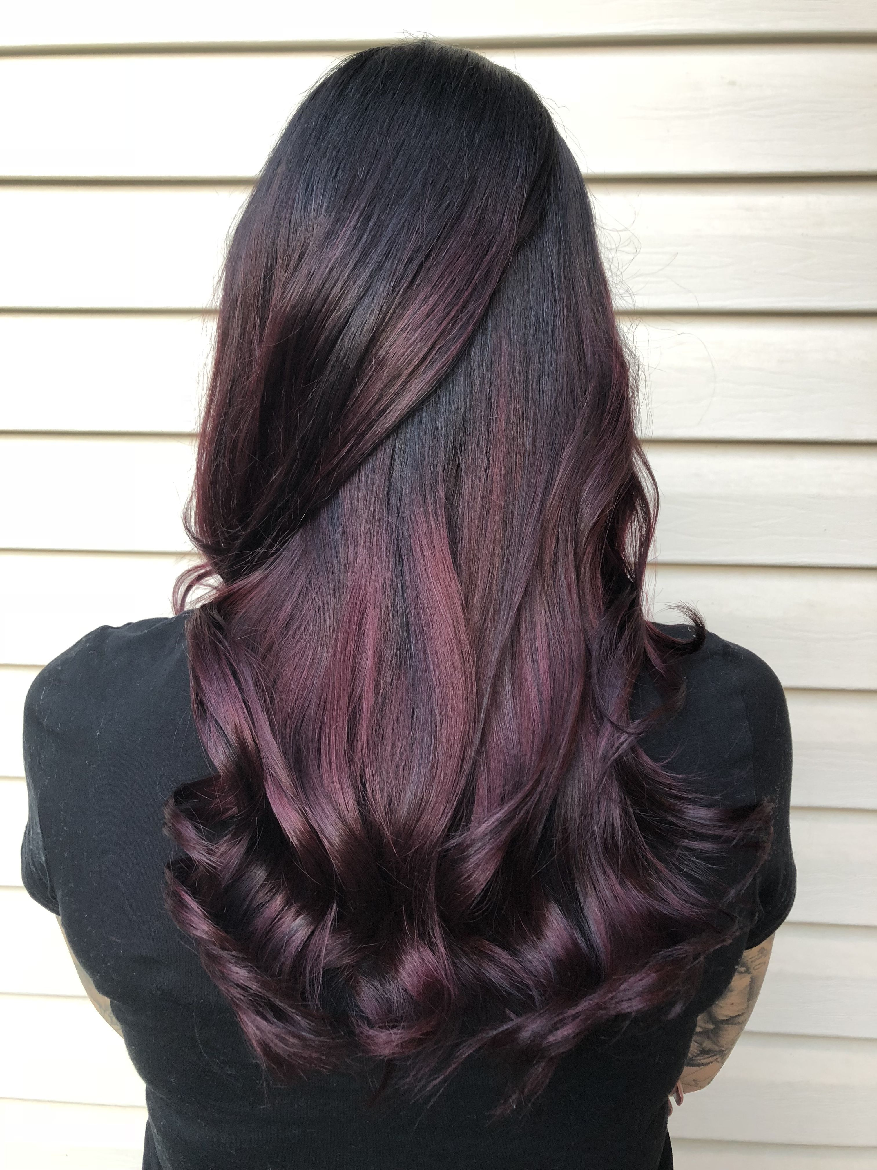 Plum Hair Balayage Ombre Purple Red Mahogany Hair Color Fall 2017 Curly Hair Style Long Hair Brunette Hair Color For Black Hair Hair Color Plum Burgundy Hair