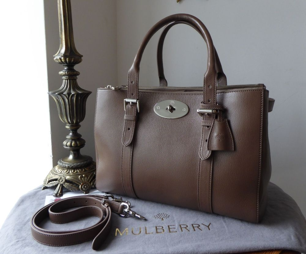 Mulberry Large Bayswater Double Zip Tote in Taupe Shiny Goat Leather - SOLD 6bee52a8f05ad