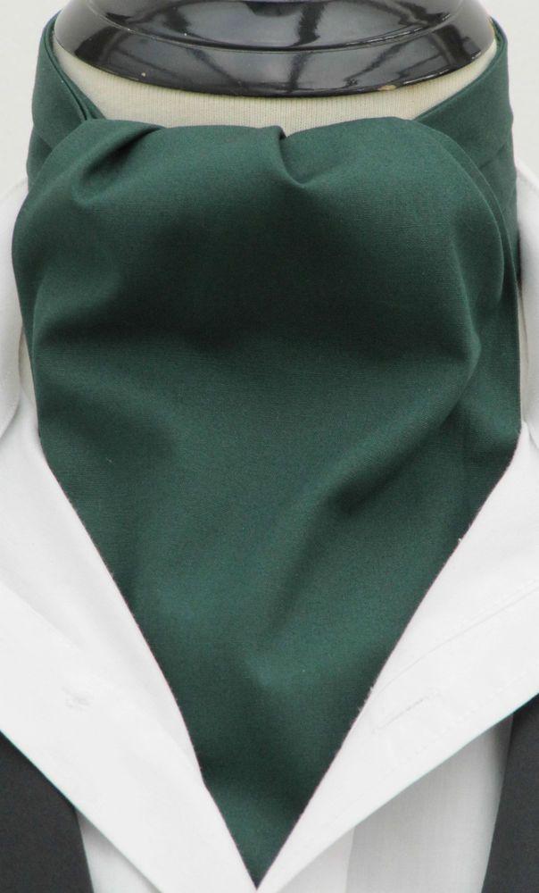 Mens Plain Bottle Green Cotton Ascot Cravat Kerchief Wedding Vintage Tie Ascot Cravat Kerchief