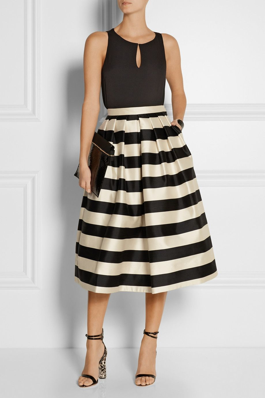 Tibi | Escalante striped silk-satin midi skirt | NET-A-PORTER.COM ...