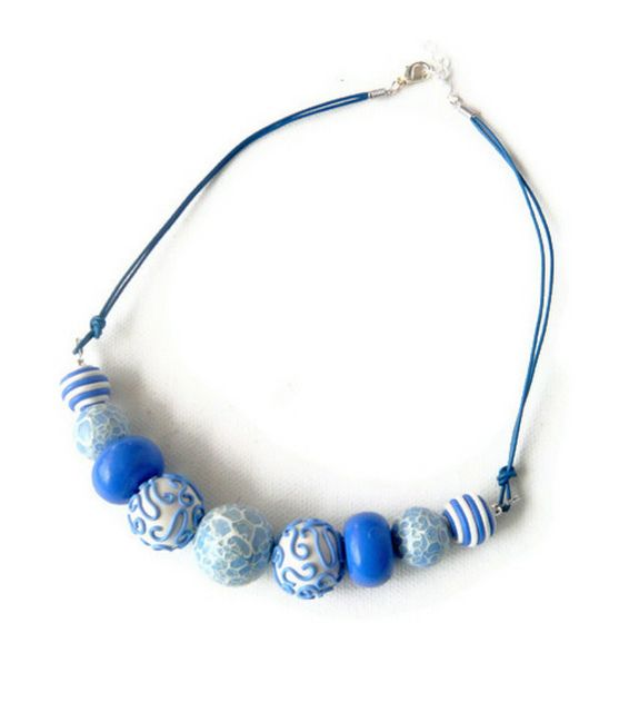 Blue & white millefiori polymer clay thong necklace | Flickr - Photo Sharing!