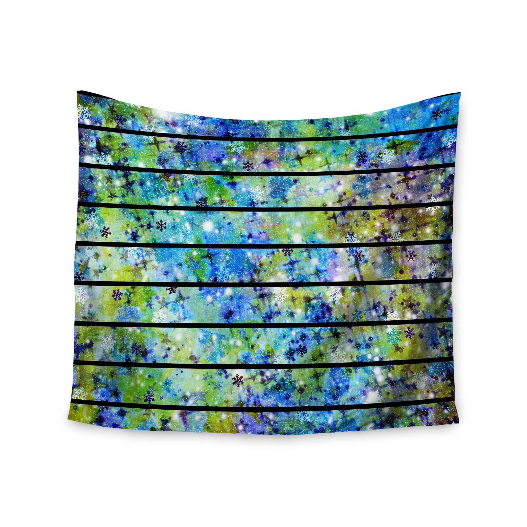 "Ebi Emporium ""Stripes & Snowflakes"" Blue Green Wall Tapestry"