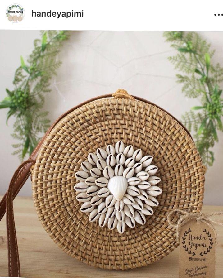 Rattan bag #rattanbag #balibag #wickerbag #roundbag #bag #hasircanta #hasırçanta #handmadebag