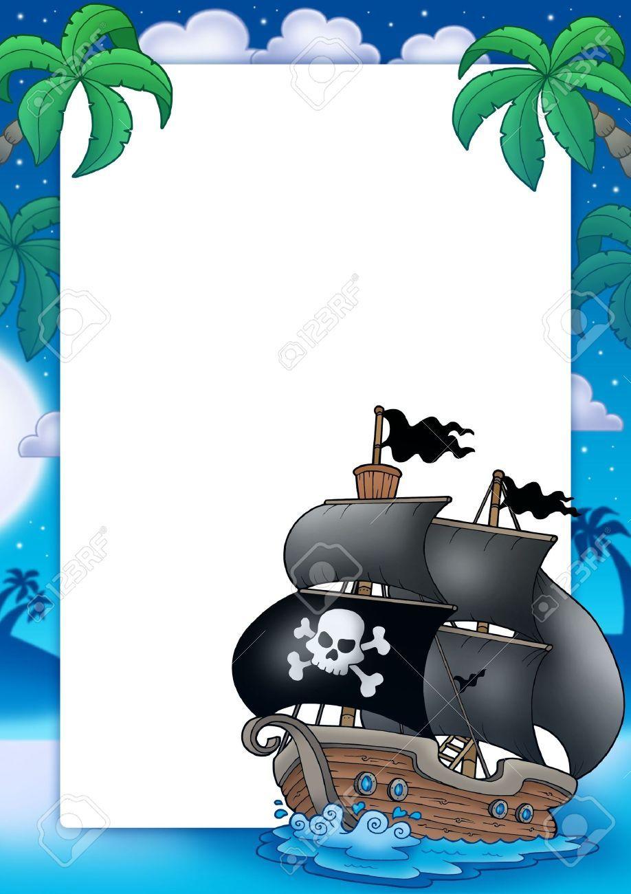 Marco y barco pirata. Con espacio para rellenar, modificar. | Marcos ...