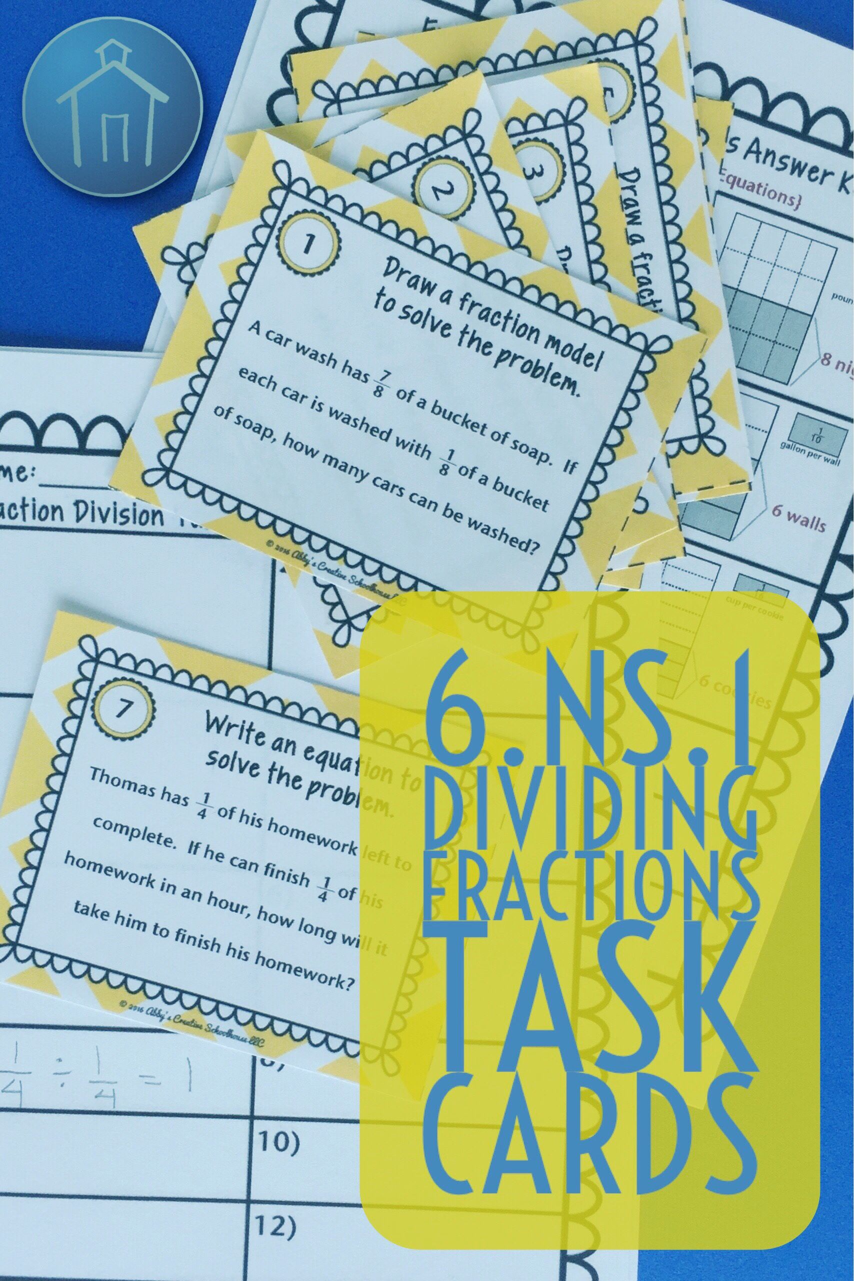 6.NS.1 Task Cards Dividing Fractions Word Problems | Dividing ...