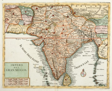 Impero Del Gran Mogol Antique Print Map Room In 2021 Map Map Print India World Map