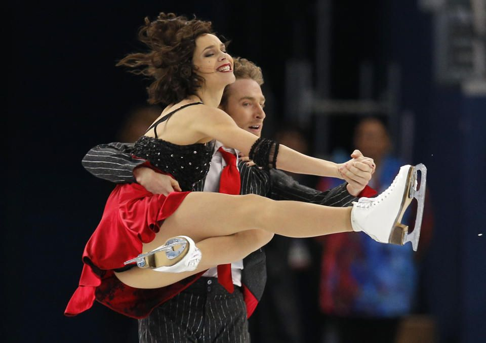 DAY 10:  Nathalie Pechalat and Fabian Bourzat of France compete during Figure Skating Ice Dancing Short Program http://sports.yahoo.com/olympics