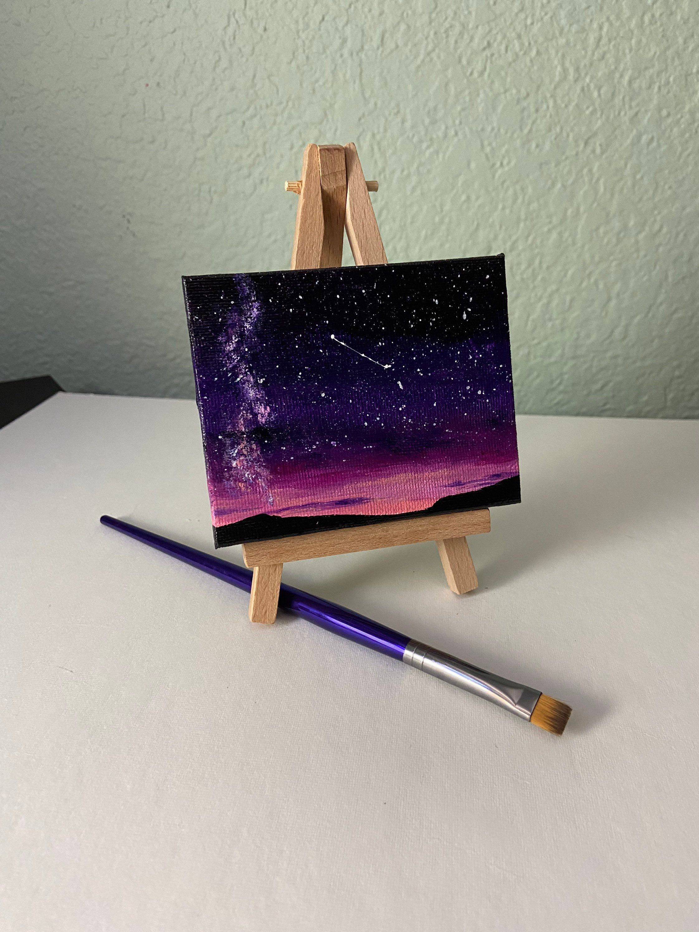 Miniature Acrylic Painting with Easel Bright Pink