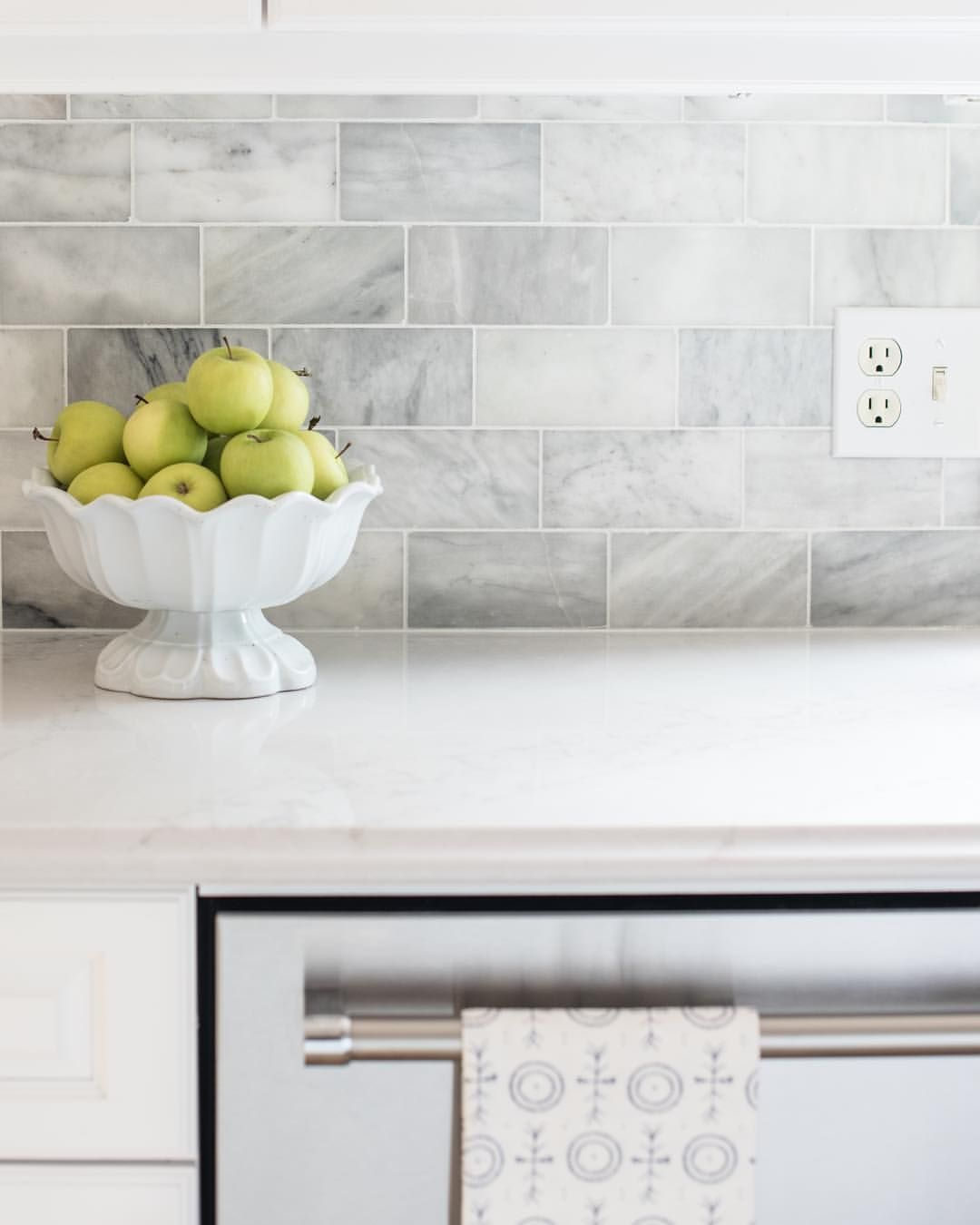 - Closer Look At The New Tile Backsplash. It's Venatino Marble