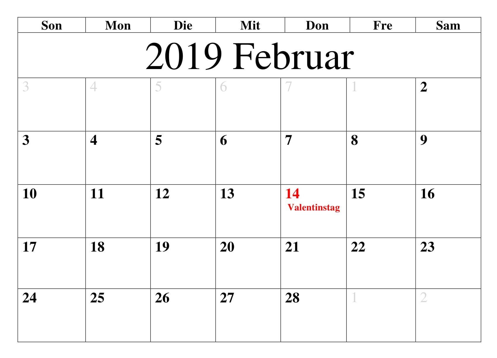 Kalender Februar 2019 Mit Feiertagen Kalender Februar 2019 Mit