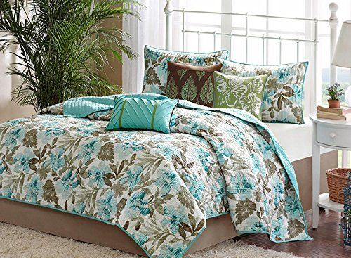 Turquoise Tropical Palm Leaf Quilt Set (6 Piece Bed In A Bag ... : tropical quilts queen - Adamdwight.com