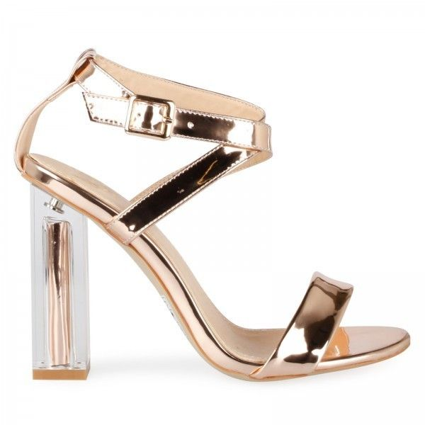 55dd3f83ead Arabella Cross Front Block Statement Perspex Heel In Rose Gold ...