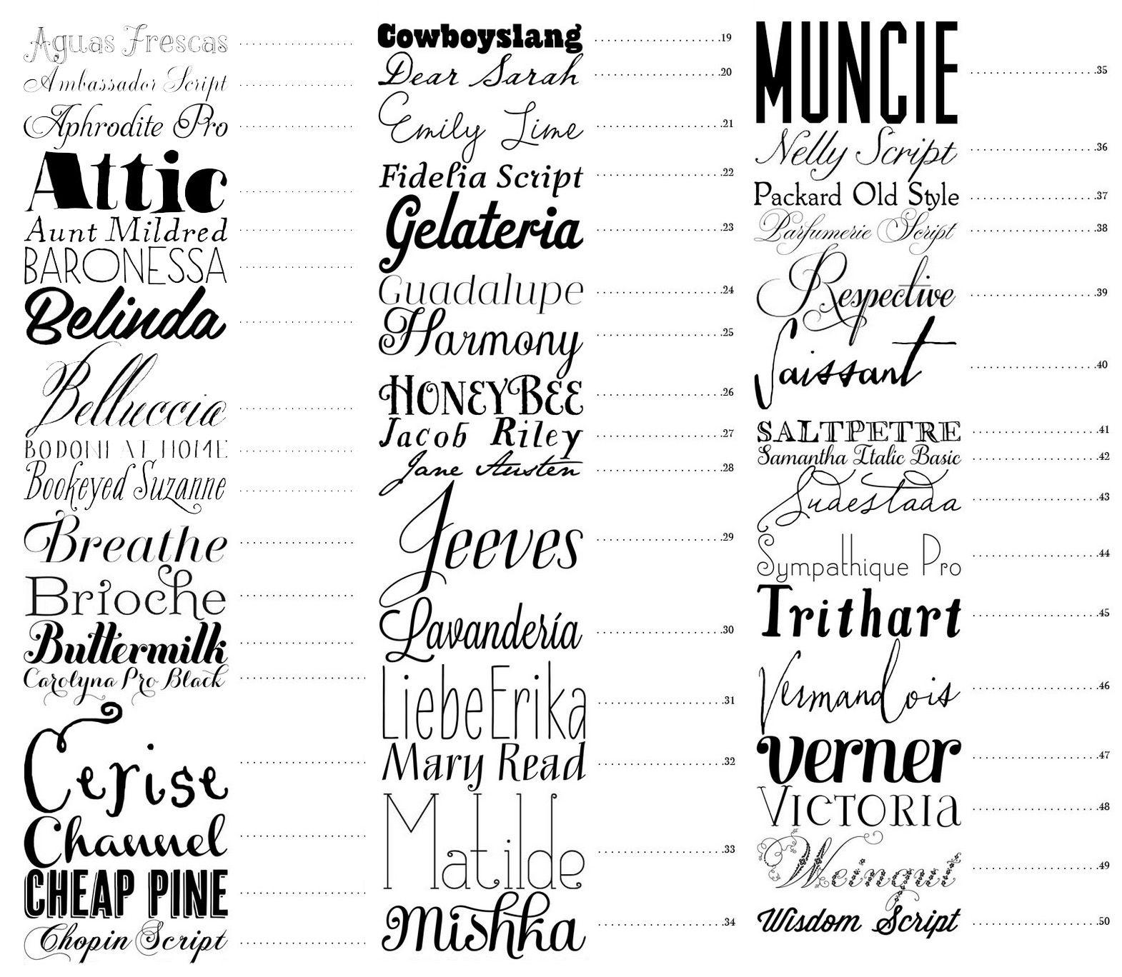 50 Best Fonts - Snippet & Ink Wedding Blog