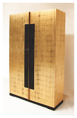 Audio visual cabinet by PIERRE BONNEFILLE. Guided with gold leaf ...