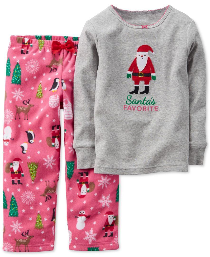 9aa56ad96000 Carter s Baby Girls  2-Piece Santa Top   Pajama Pants